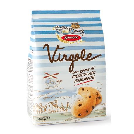 VIRGOLE FROLLINI CON GOCCE DI CIOCCOLATO FONDENTE (Conf.. 350 g)